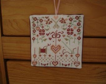 """embroidered wall hanging """"flowers, coil and heart"""""""
