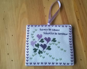 plate holder or pinkeep 'scattered hearts' purple