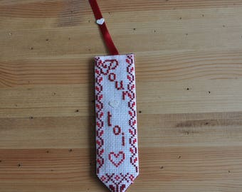 Embroidered bookmark 'for you' in cross stitch