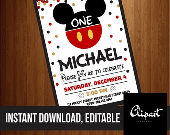 Mickey Mouse, minnie mouse, Invitations, Birthday Invitation, Printable Invitations, Invites, Digital Download File, You Print