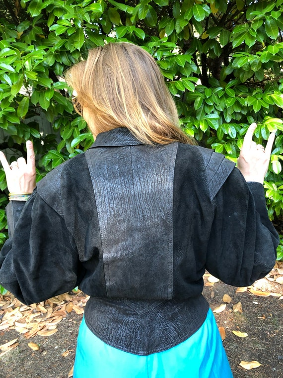 90's Black Leather and Snakeskin Suede Jacket