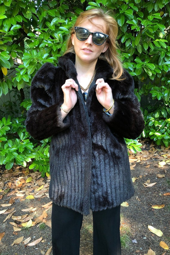 Black Faux Fur Coat, White Stag - image 1