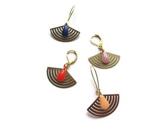 Earrings prints colored sequins and gold fans