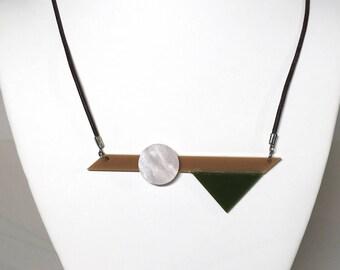 Tan, Green, Pearl Pendant on Leather Cord