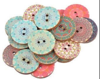Patterns - 2, 5cm in diameter - roses wooden round buttons
