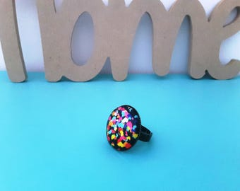 Fancy ring small multicolored hearts