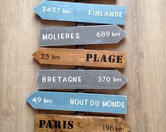 panneau bois, décoration murale personnalisable, flèches en bois, panneau direction