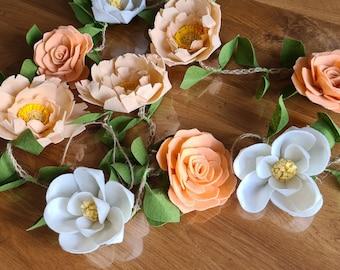 Felt flower garland, Peach floral decor, Peony garland, Rose garland, Magnolia garland, Floral decor, Flower hanging