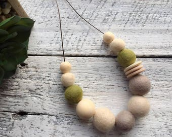Felt Wool Ball Bead Necklace - Olive/Cream/Light Brown