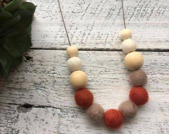 Felt Wool Ball Bead Necklace - Copper/Light Brown/White