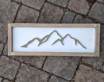 custom mountain silhouette | handmade mountain silhouette | made in Connecticut | female handmade wooden decor