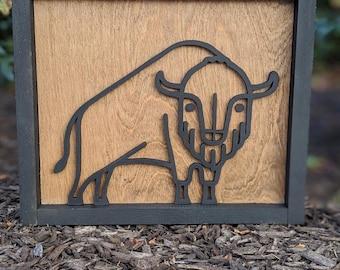 bison decor | wooden bison decor | woodland nursery