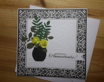 Large yellow roses bouquet birthday card