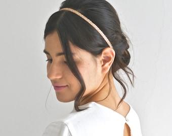 Headband, headband-headband design, rose gold, boho, embroidered, gilded applications pearls Jewel head, wedding, romantic bride, fine, delicate