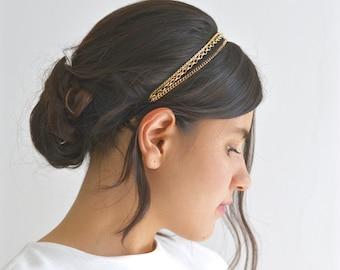 Headband headband triple bride 3 fine chains gold or Hair head hairstyle romantic wedding bohemian delicate fine headband