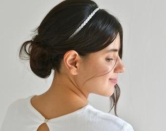 Wedding headband, headband, tressed diadema headband bride embroidered silver threads Boho head jewel, romantic, delicate, refined,