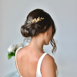 accessory hair hair romantic branch gold bride antique jewel leaves Crown Golden Comb wedding fairy flowers