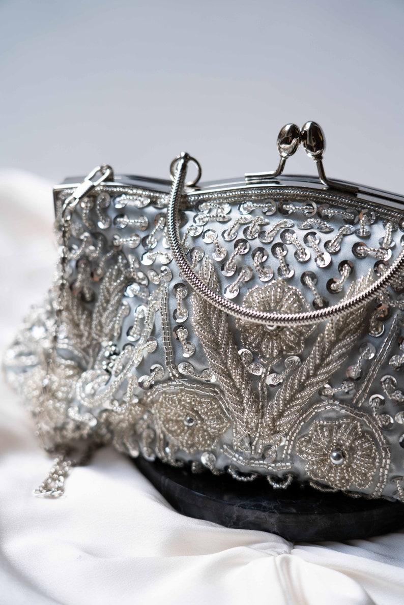 Bridal handbag boho wedding accessory vintage stones ceremony, white ivory retro clutch vintage pearls lace