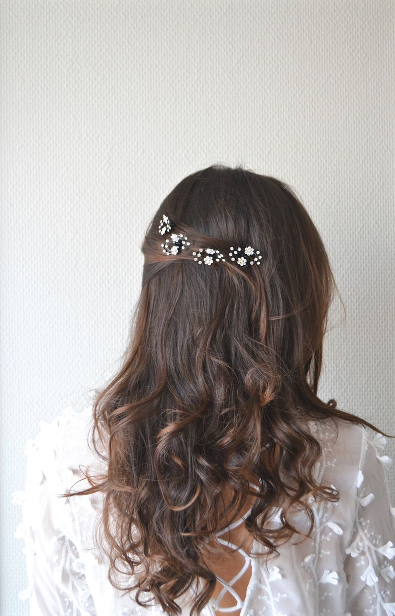 pliers minimalist pin Barrette refined romantic Jewel of flower wedding hair star tiara leaf flower rhine stones delicate