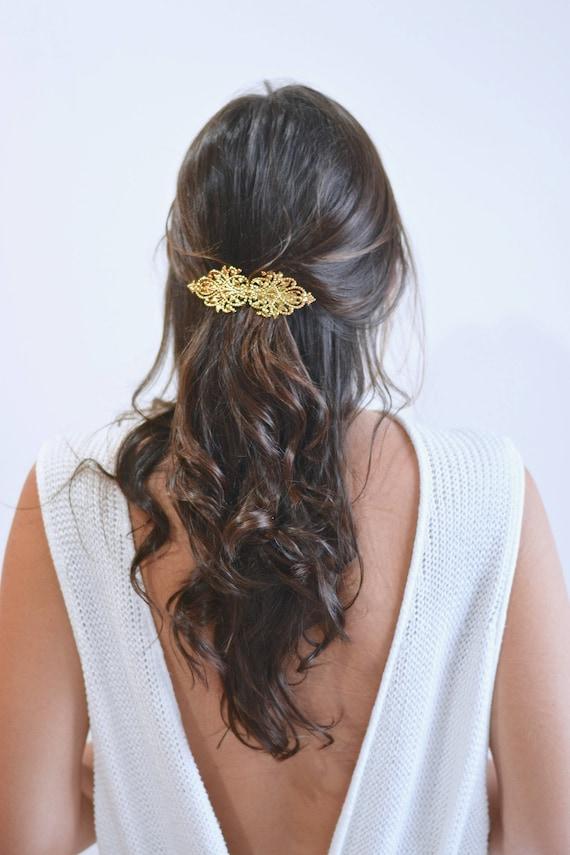 Goldene Hochzeit Haarschmuck Haarspange Clip Pin Diadem Tiara Sterne Gold Zart Minimalistisch Raffinierte Zubehör Romantische Spitze