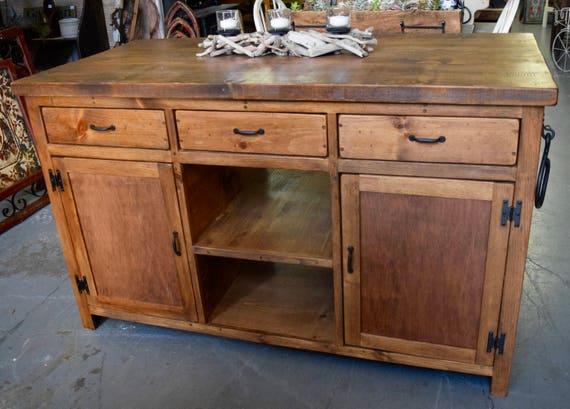 Solid Wood, Hand Built Farmhouse Kitchen Island
