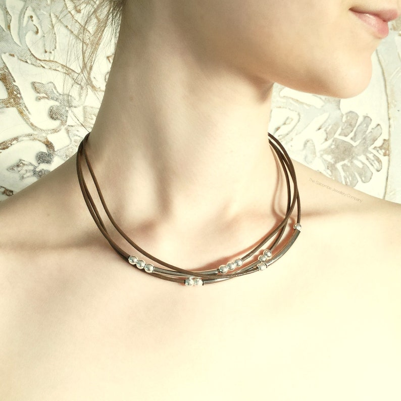 Gift For Her Brown Leather Necklace Silver Leather Necklace Multi Strand Leather Necklace Stylish Genuine Goat Leather Gift for him