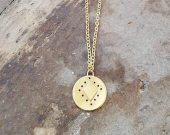 Handmade Brass Cutout Geometric Boho Coin Necklace