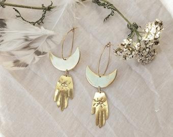 Handmade Brass Eco Silver or Gold Filled Crescent Moon Hamsa Earrings- Boho Moon Hand Earrings- Talisman Moon and Hamsa Drop Earrings