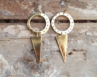 Handmade Brass Geometric Cutout Circle & Triangle Drop Earrings Boho Earrings Minimal Earrings