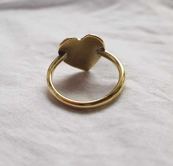 Heart Stamped Brass Ring