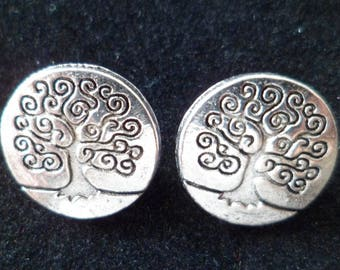 2 silver Metal buttons engraved tree 14 mm