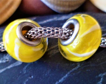 2 European beads yellow white Lampwork Glass 14 mm big hole for snakeskin and Leather Bracelets