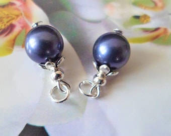 2 charms Pearl glass beads 15 mm Midnight Blue