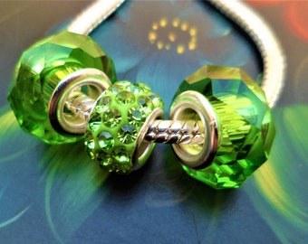81fe8397f Lots 3 charms glass rhinestone Crystal green alloy silver, European beads  large hole 5 mm Pandora style