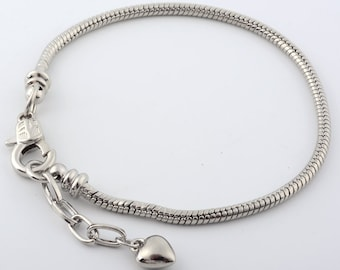 Heart Charm with Lobster Clasp Necklace E2810 for Charms Bracelet Sterling Silver 925