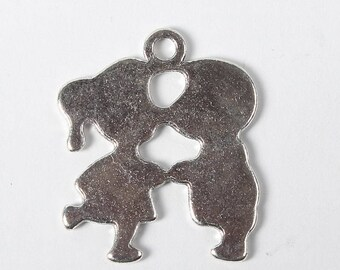 Lot 2 silver 22 mm children charms