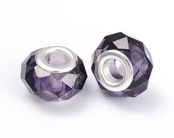 Charms purple 14 mm beads