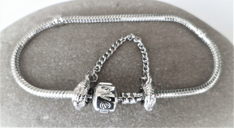 19 cm European love bracelet for beads charms safety chain clip clasp big hole charms