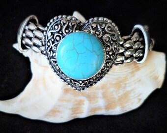 Cabochon Turquoise heart 18 Cm Antique Silver Flower bracelet