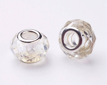 2 clear Crystal faceted Charms beads