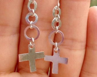 Sterling Silver Discs and Cross Earrings