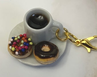 Coffee and Donuts miniature polymer clay charm, jewellery, knitting stitch marker or progress keeper by Charming Minis