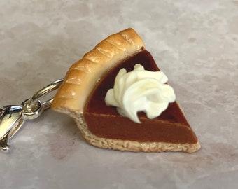 Pumpkin Pie miniature polymer clay charm, jewellery, knitting stitch marker or progress keeper by Charming Minis