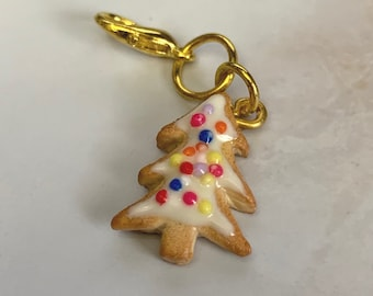 Christmas Cookie miniature polymer clay charm, jewellery, knitting stitch marker or progress keeper by Charming Minis
