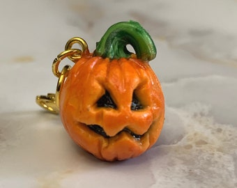 Jack O'Lantern miniature polymer clay charm, jewellery, knitting stitch markers or progress keepers by Charming Minis