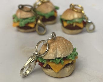 Cheeseburger miniature polymer clay charm, jewellery, knitting stitch marker or progress keeper by Charming Minis
