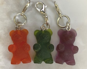 Set of 3 Gummy Candy (Set 2) miniature epoxy resin charms, jewellery, knitting stitch markers or progress keepers by Charming Minis