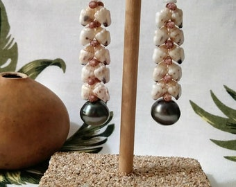 "Hawaiian heliconia with Tahitian pearl drop earrings. Earrings are 1 3/4""."