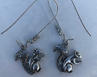 Squirrel Sterling Earrings, Silver Acorn necklace, Woodland, Gift,  Nature jewelry, Yule, Black Friday, Cyber Monday, Forest