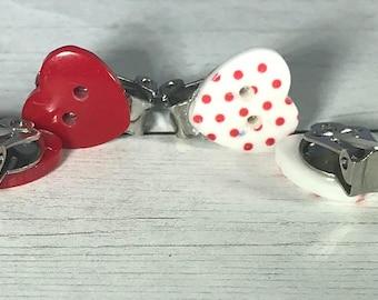 Clip-on Polka Dot Heart Button Earrings, Red Heart Button Earrings, Valentine Earrings, Buttons Earrings, Shiny Earrings, Minimalist Earring